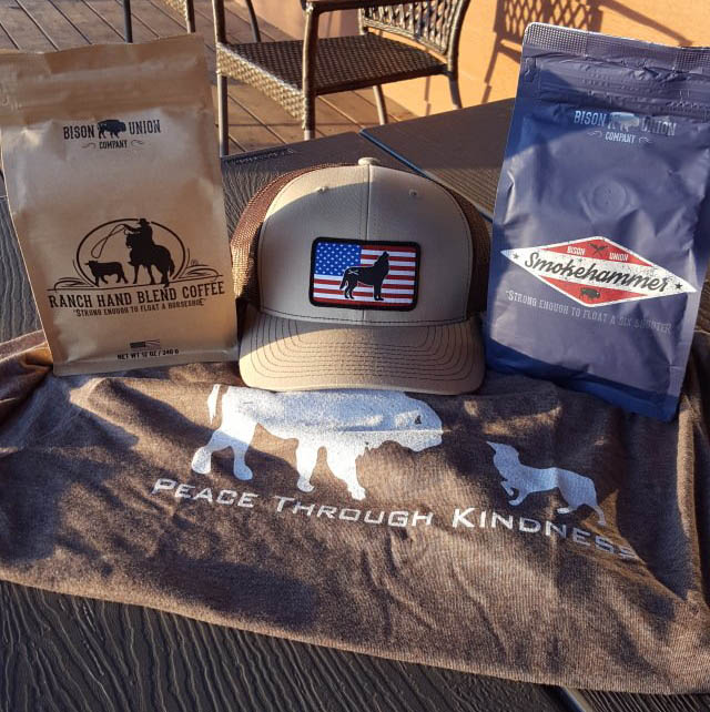 bison union coffee, hat and t-shirt