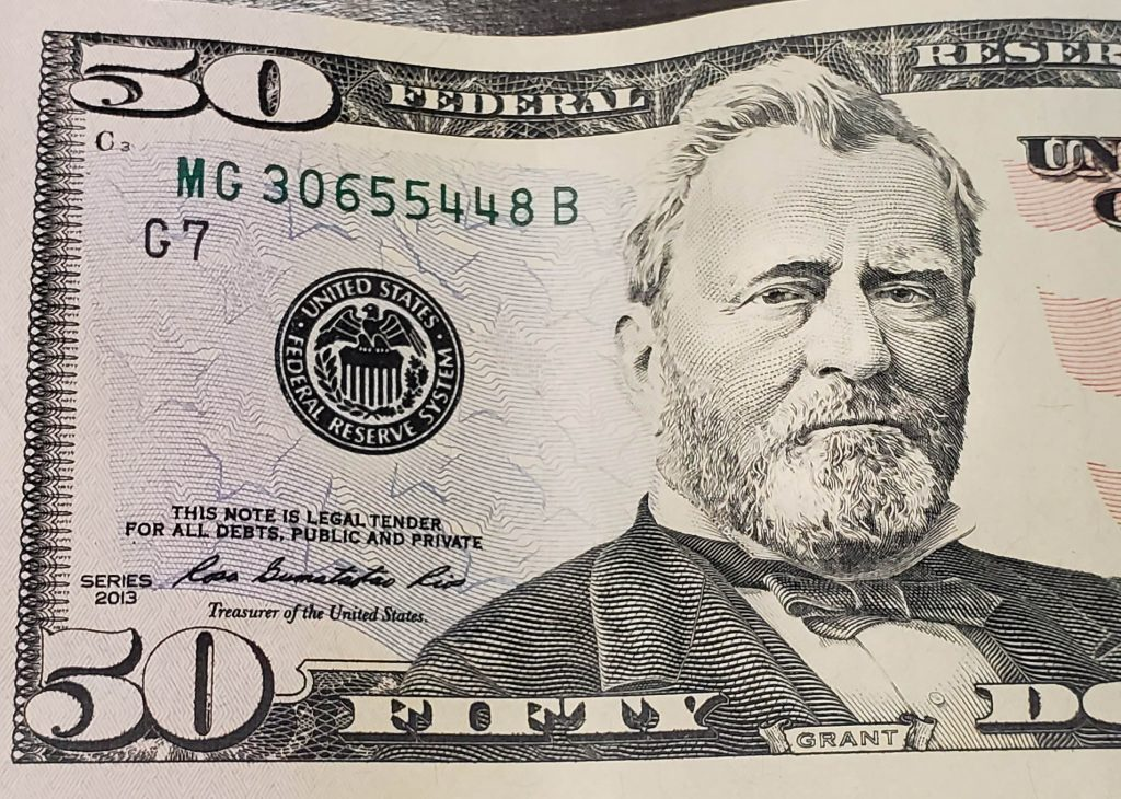 U.S. Grant on the 50 dollar bill